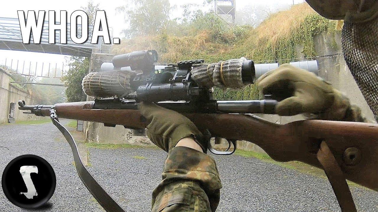 Guy apporte le VRAI GUN * KAR98K * AU JEU AIRSOFT !!