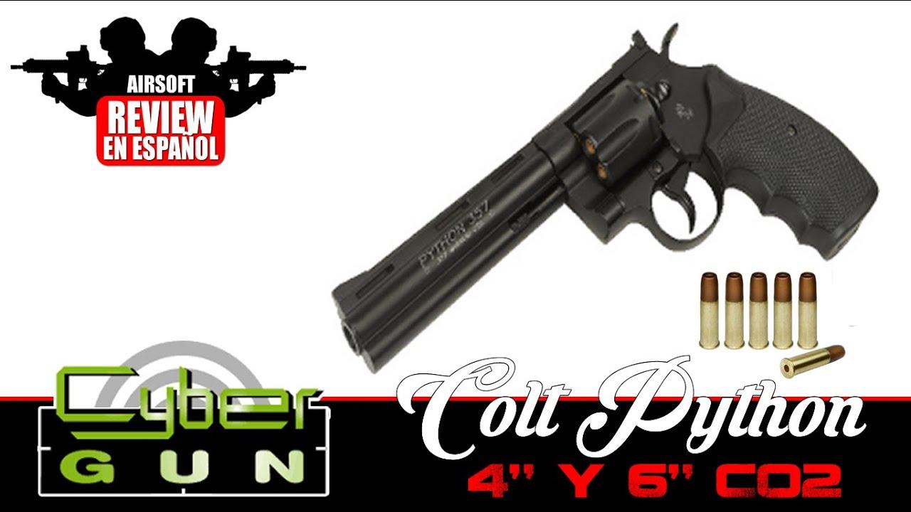 """Colt: Cybergun Colt Python 4 """"et 6"""" Co2 Airsoft Review en espagnol HD (Test Shot)"""