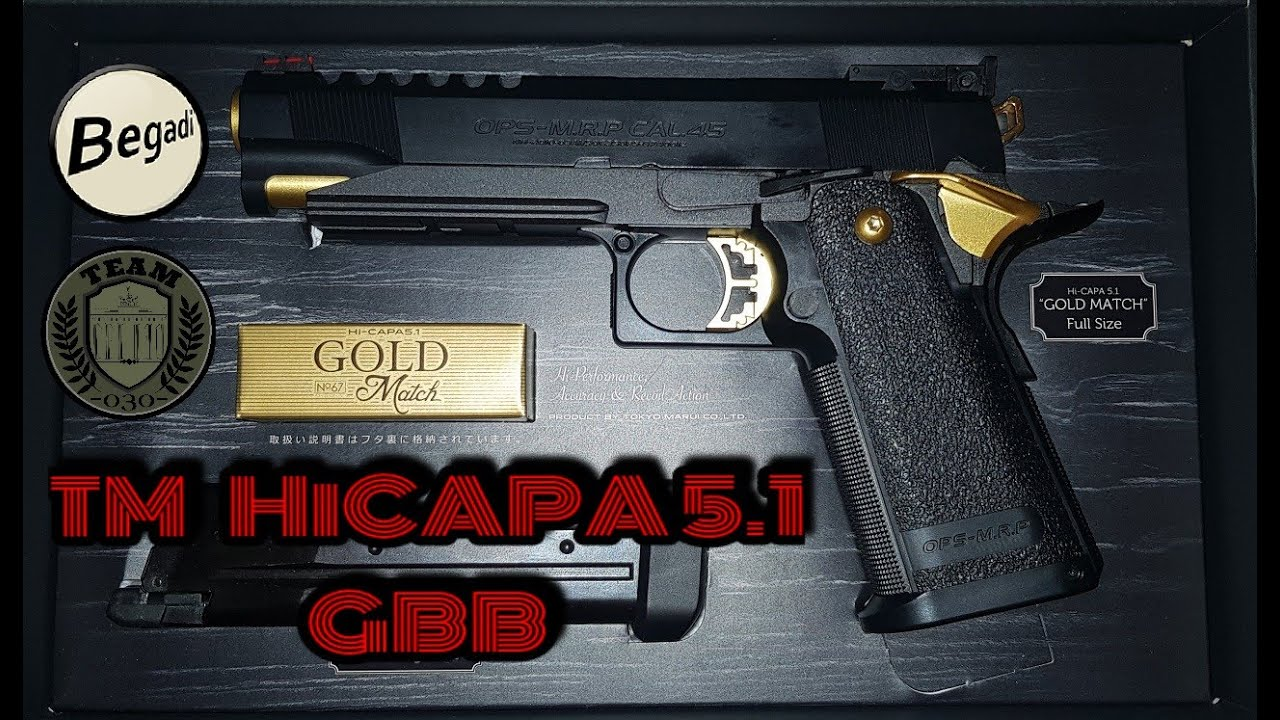 HiCapa 5.1 AIRSOFT de TM Hi-Capa Revue de la GBB Gold Match Edition de l'allemand / l'allemand TEAM-030- AIRSOFT