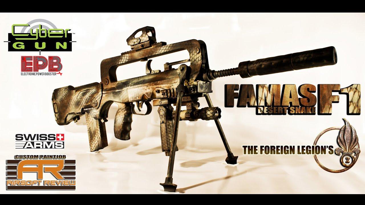 FAMAS F1 EPB CYBERGUN [ PAINTJOB DESERT SNAKE SWISS ARMS] / AIRSOFT REVIEW