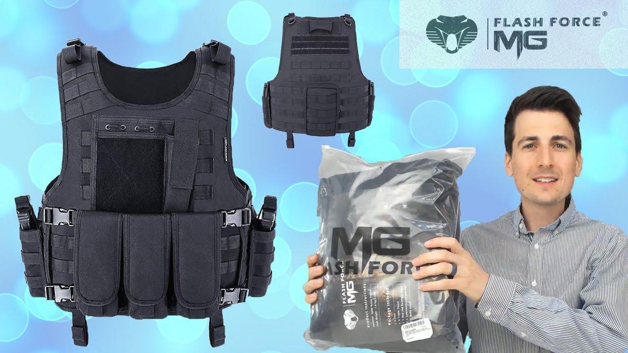 MGFLASHFORCE Revue Tactique Vest | Gilet militaire ajustable et respirant en airsoft