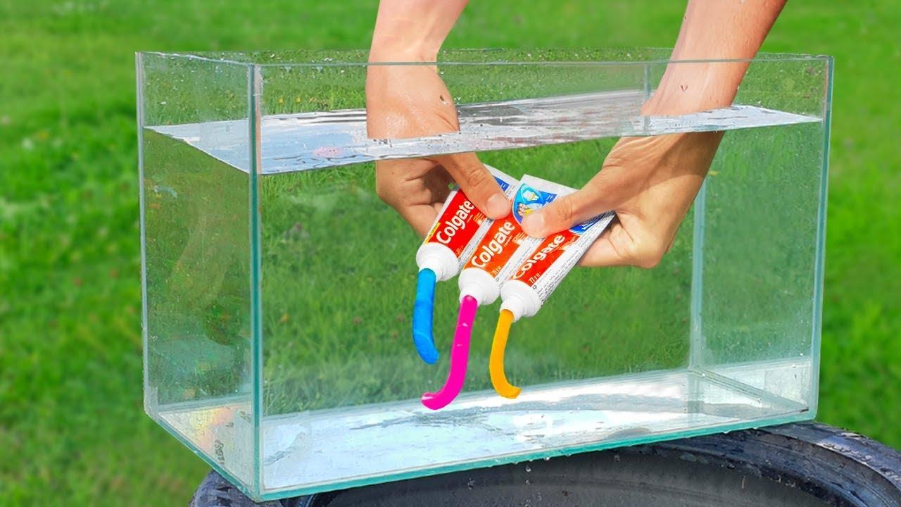 Expérience: dentifrice arc-en-ciel sous l'eau