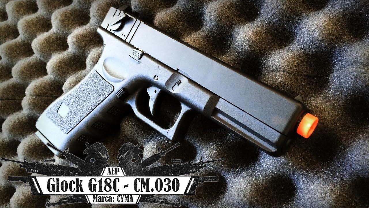Pistolet électrique CYMA Glock G18C (CM-030) (Airsoft Review BR)