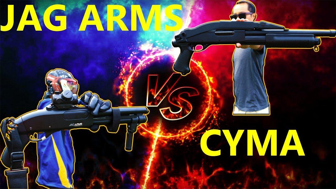 Ballin sur un budget Airsoft Shotgun Face Off Critique Cyma Trishot VS Jag Arms cadeau Scattergun !!!