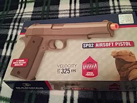 Marine Corps SPO2 Airsoft pistolet unboxing, examen et test de tir