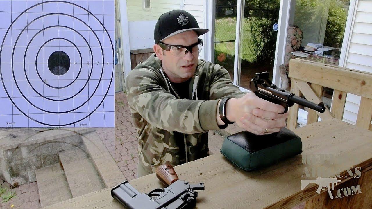 Examen du tir au pistolet Airsoft CO2 KWC P-08 Luger CO2 Blowback