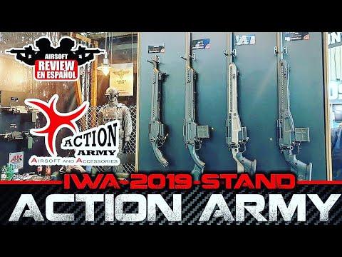 IWA 2019 STAND ACTION ARMY et son sniper ultra garni | Revue Airsoft en espagnol # IWA2019