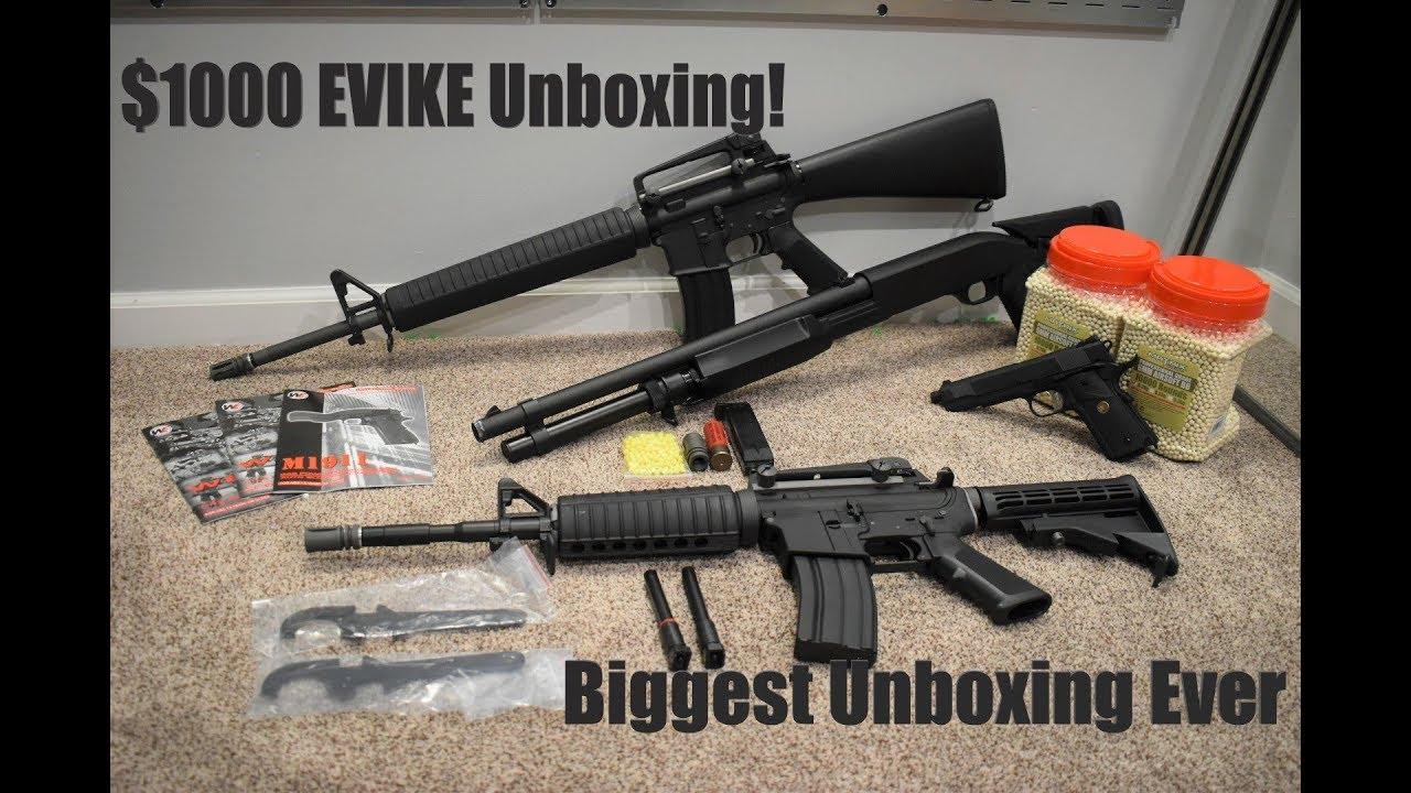 1000 $ EVIKE Airsoft Unboxing! Mon plus grand déballage jamais!