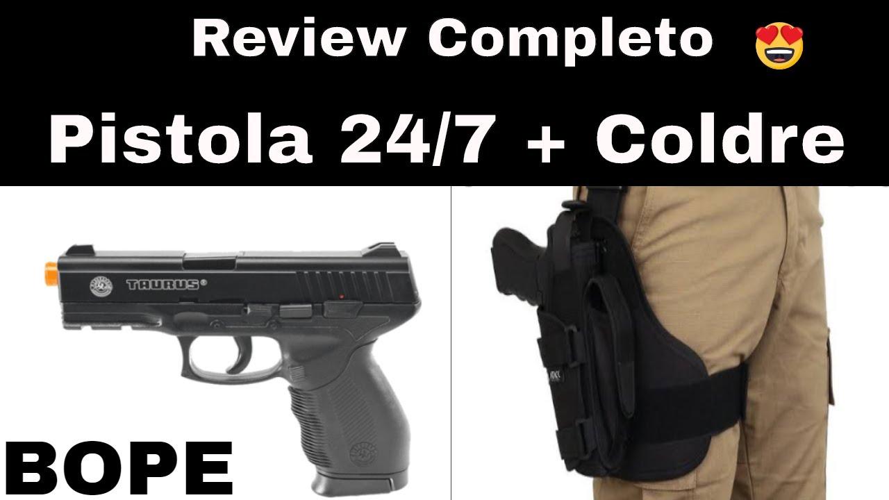 REVUE Pistolet Airsoft 24/7 + Holster de jambe Bope