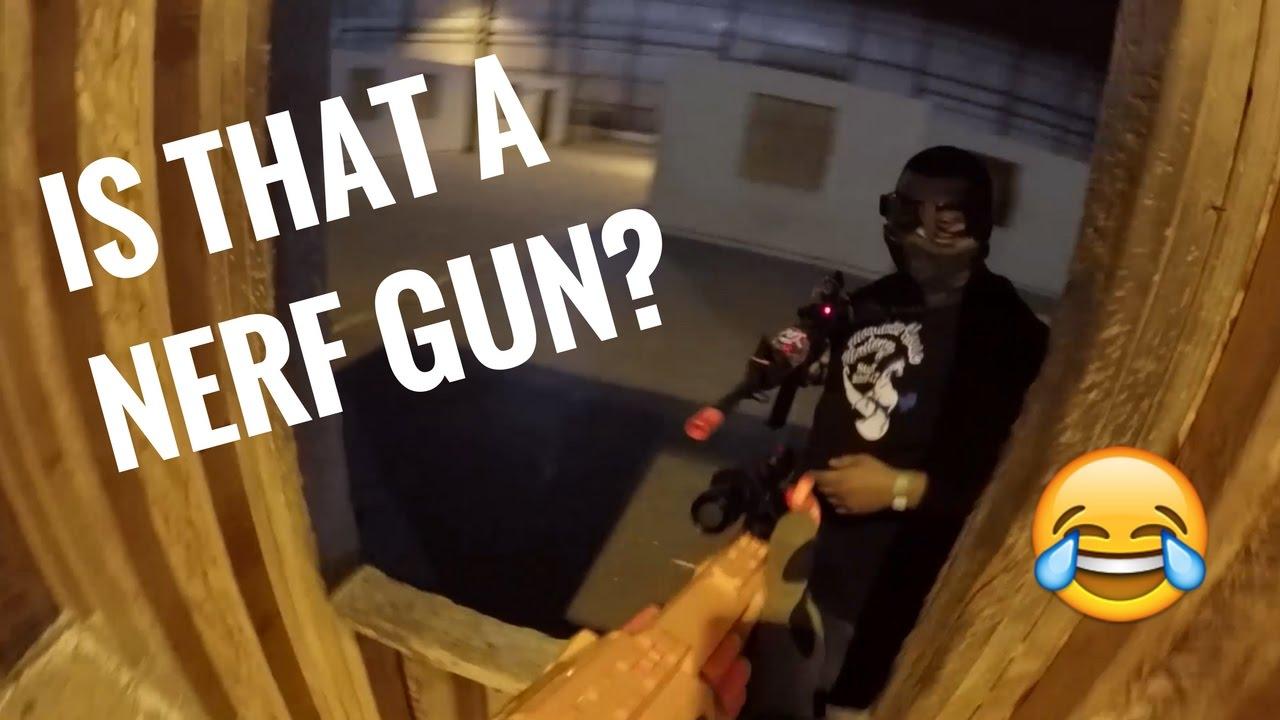 Utiliser un pistolet Nerf contre l'airsoft?!?