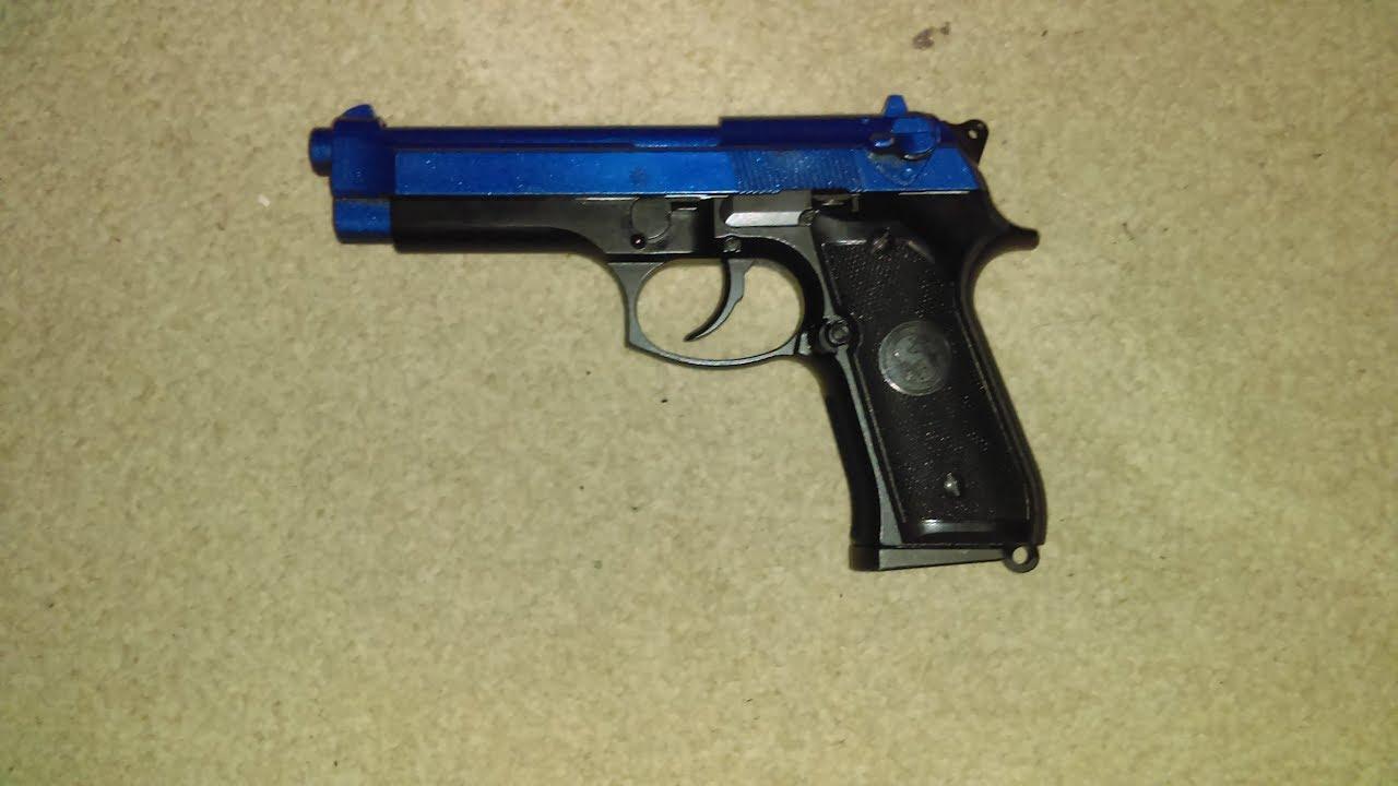 Revue Airsoft de la soufflerie à gaz, entièrement métallique Beretta 92 FS (toboggan bleu)