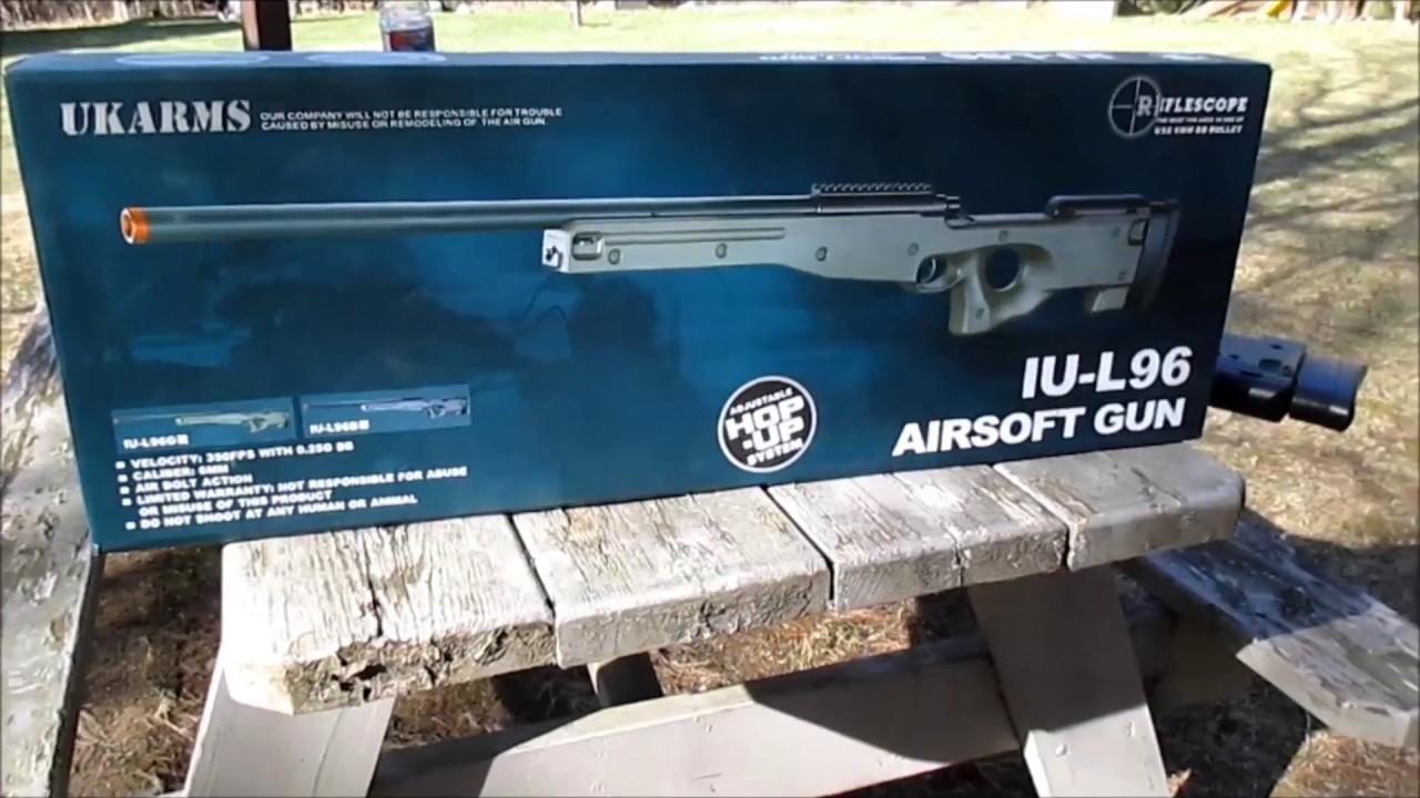 Examen du fusil de sniper Airsoft || Unboxing pour fusil AGM MK96 / L96