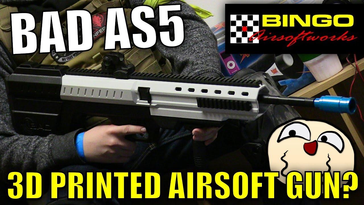 Le pistolet Airsoft le plus étrange que j'ai examiné – Bingo Airsoft Works AS5 | Pistolet imprimé en 3D