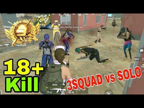 Three Squad Vs Me | 18 Kills Solo vs Squad | PUBG MOBILE LITE