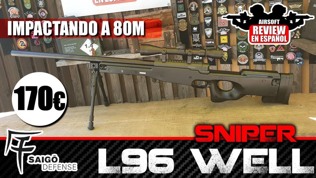 80 MÈTRES avec un tireur d'élite de 170 €! L96 SAIGO WELL (REVUE + TEST SHOT)   Revue Airsoft en espagnol