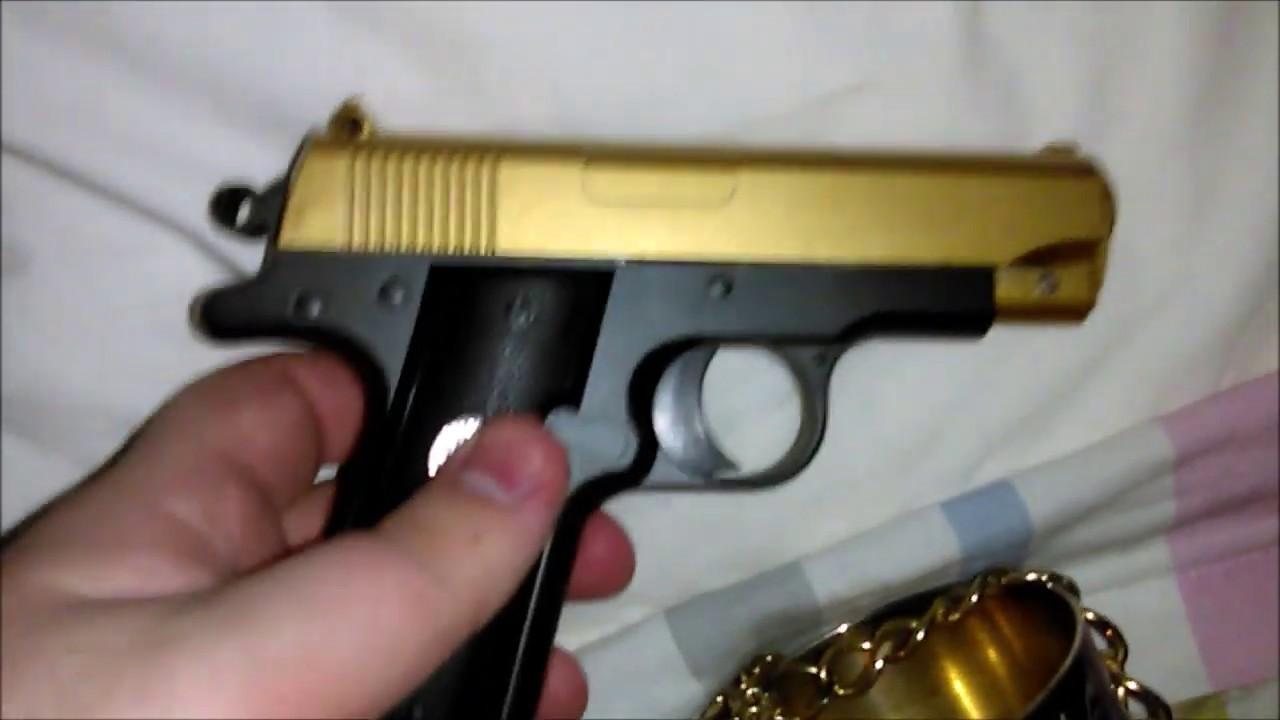 Revue Airsoft du pistolet G2 entièrement métallique à ressort par Galaxy avec une diapositive en or