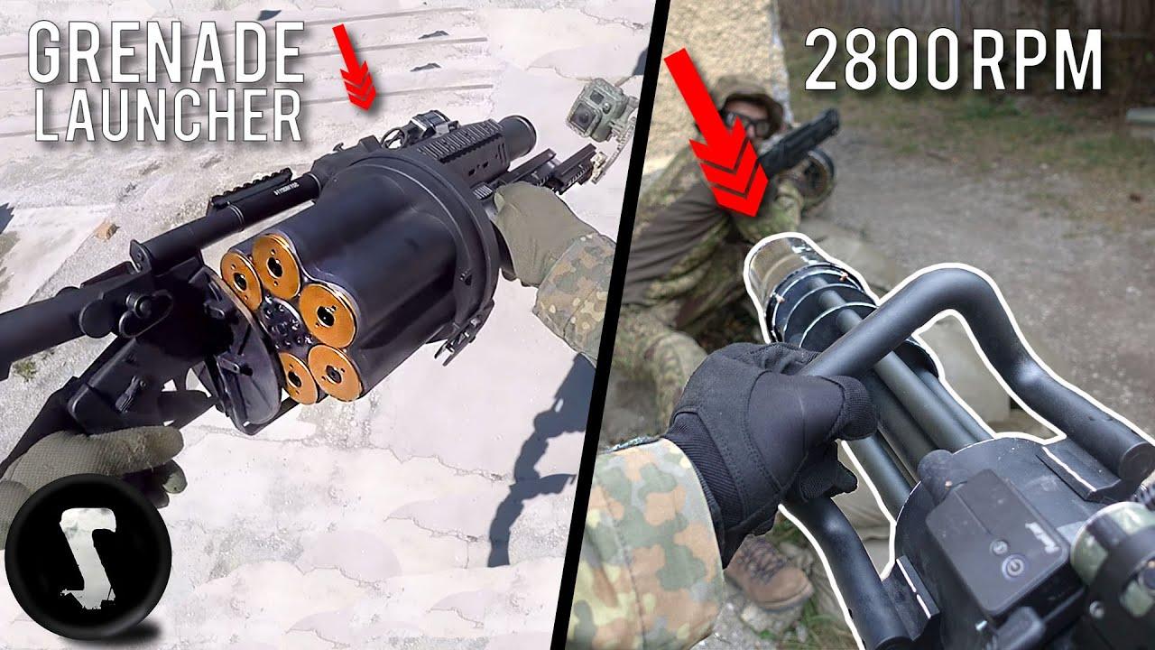 Airsoft Pain Olympics – Minigun VS Grenade Launcher😫😫