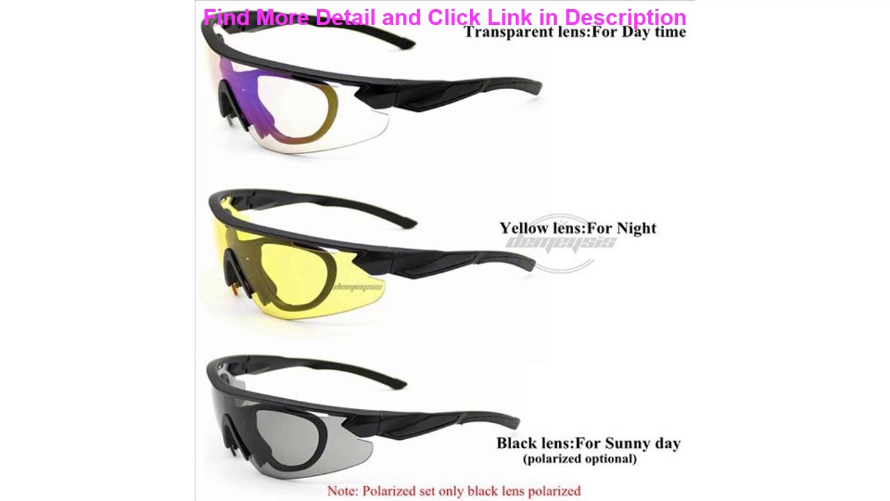 Review 3 Lens Military Airsoft Shooting Goggles Polarized Army Tactical Glasses UV Protection Bike