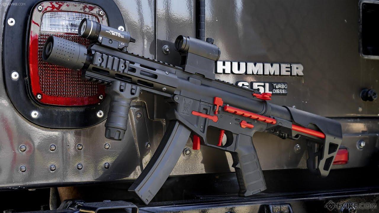 King Arms PDW 9mm SBR Airsoft AEG Carabine Couleur: Noir et Rouge / Silencieux M-LOK * REVEIW *