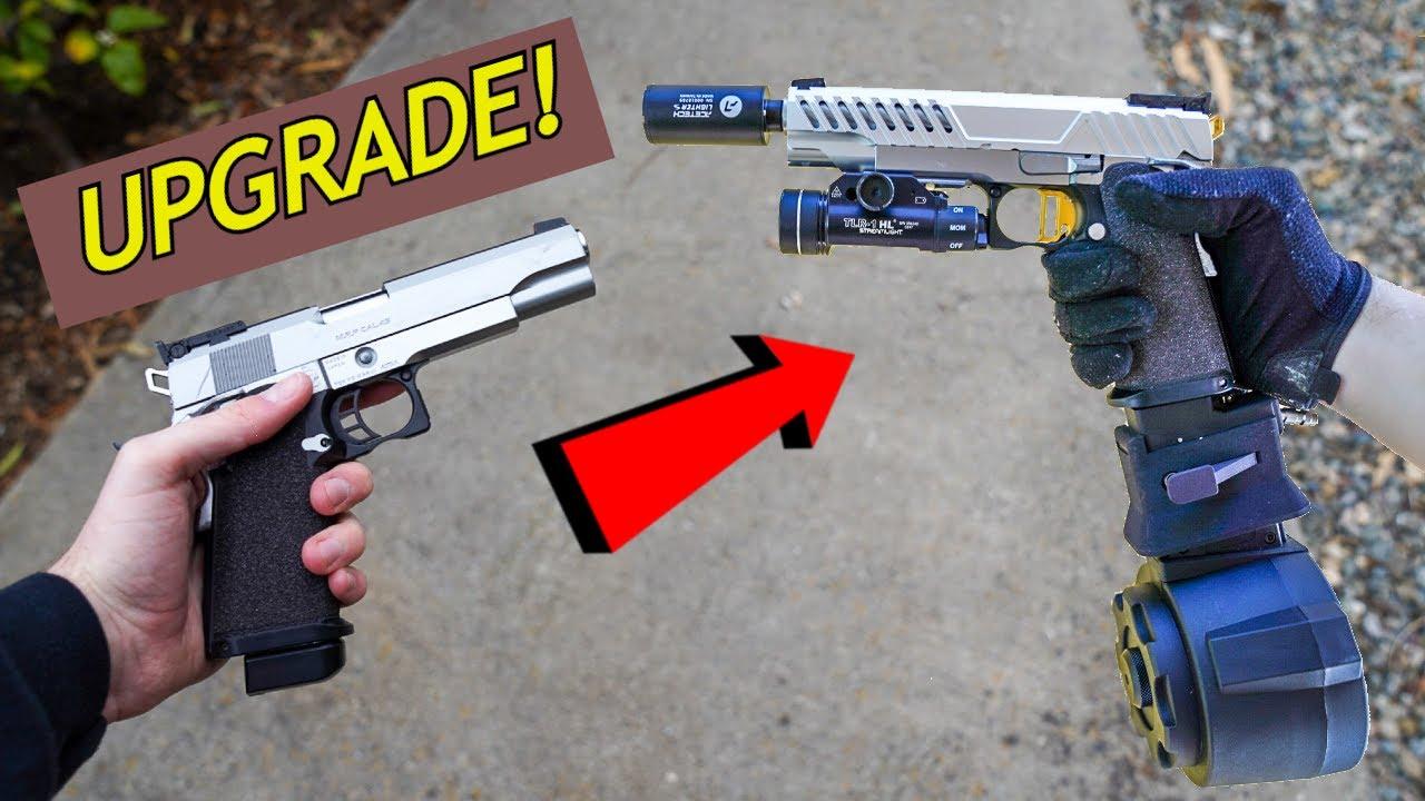 Construire le pistolet le plus fou jamais! Test de technologie et de tir Hi-Capa! * Fusil Airsoft fou *