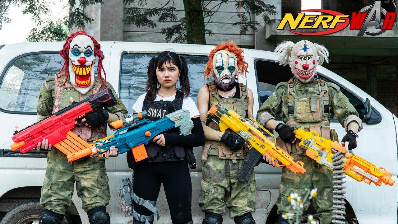 MASQUE Nerf War: Special Police Girl Alpha Nerf Guns Fight Black Panther Mask Mega Blue