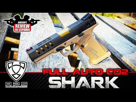 APS SHARK FULL AUTO CO2 | Airsoft Review en espagnol (Test Shot)