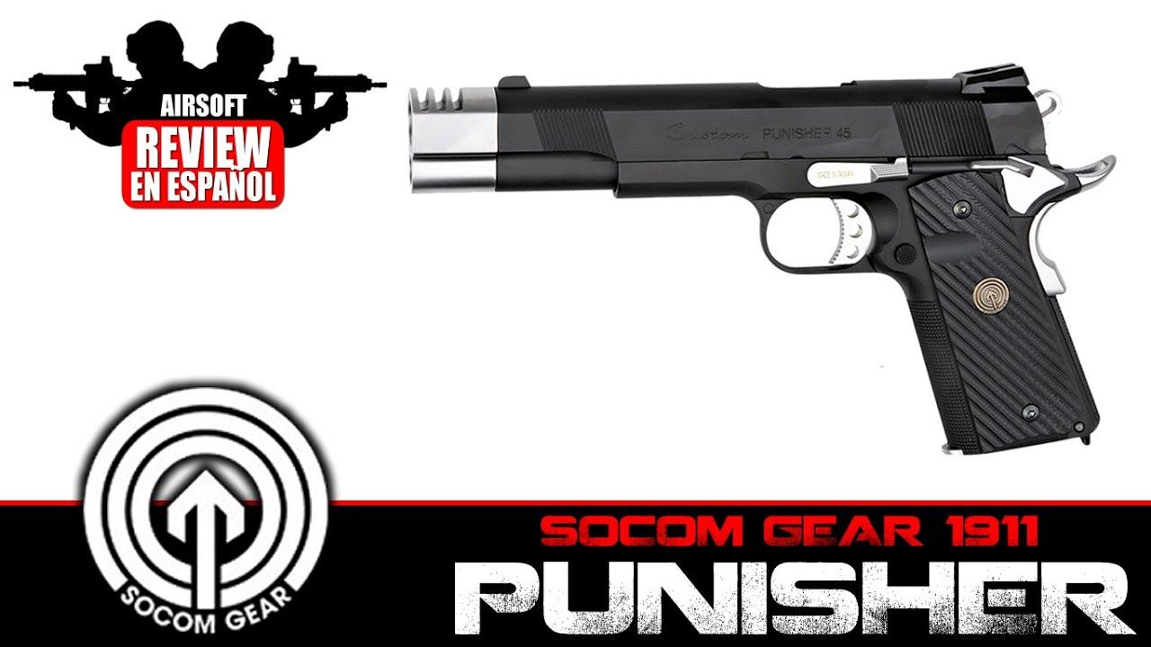 PUNISHER 1911: Socom Gear Punisher 1911 Airsoft Review en espagnol HD (Test Shot)