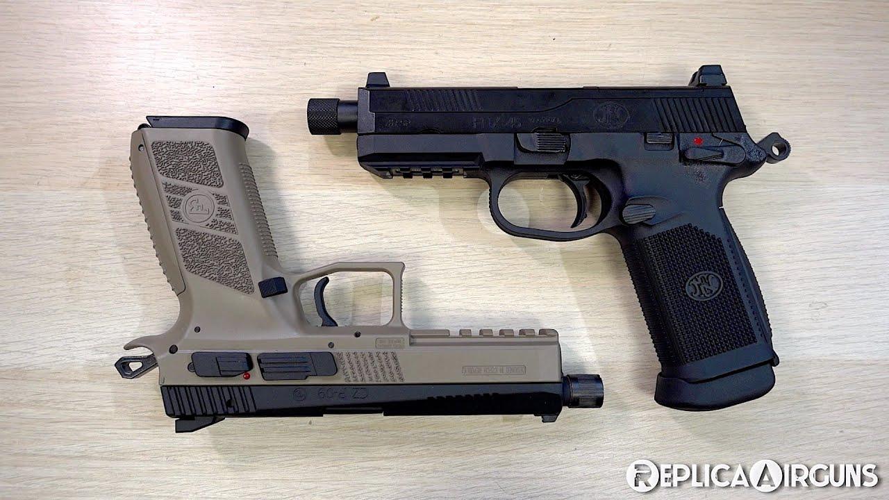 Aperçu du pistolet Airsoft Cybergun FN Herstal FNX-45 et ASG CZ P-09 Blowback