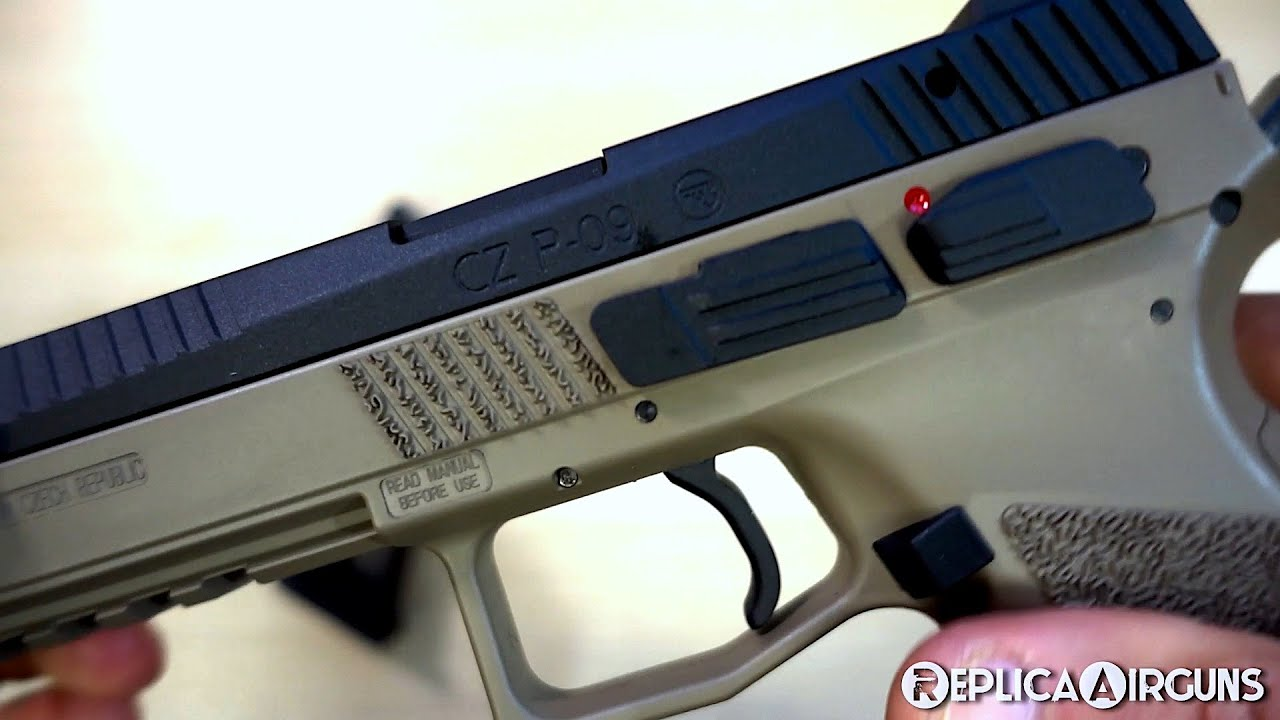 ASG CZ P-09 Canon fileté CO2 Blowback Airsoft Pistol Table Top Review