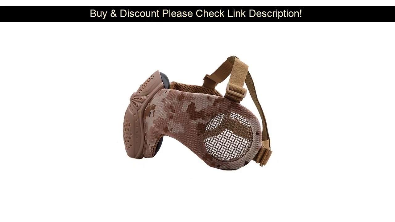 Donner votre avis sur Airsoft tactique demi masque de protection du visage masque inférieur en maille avec protection d'oreille chasse