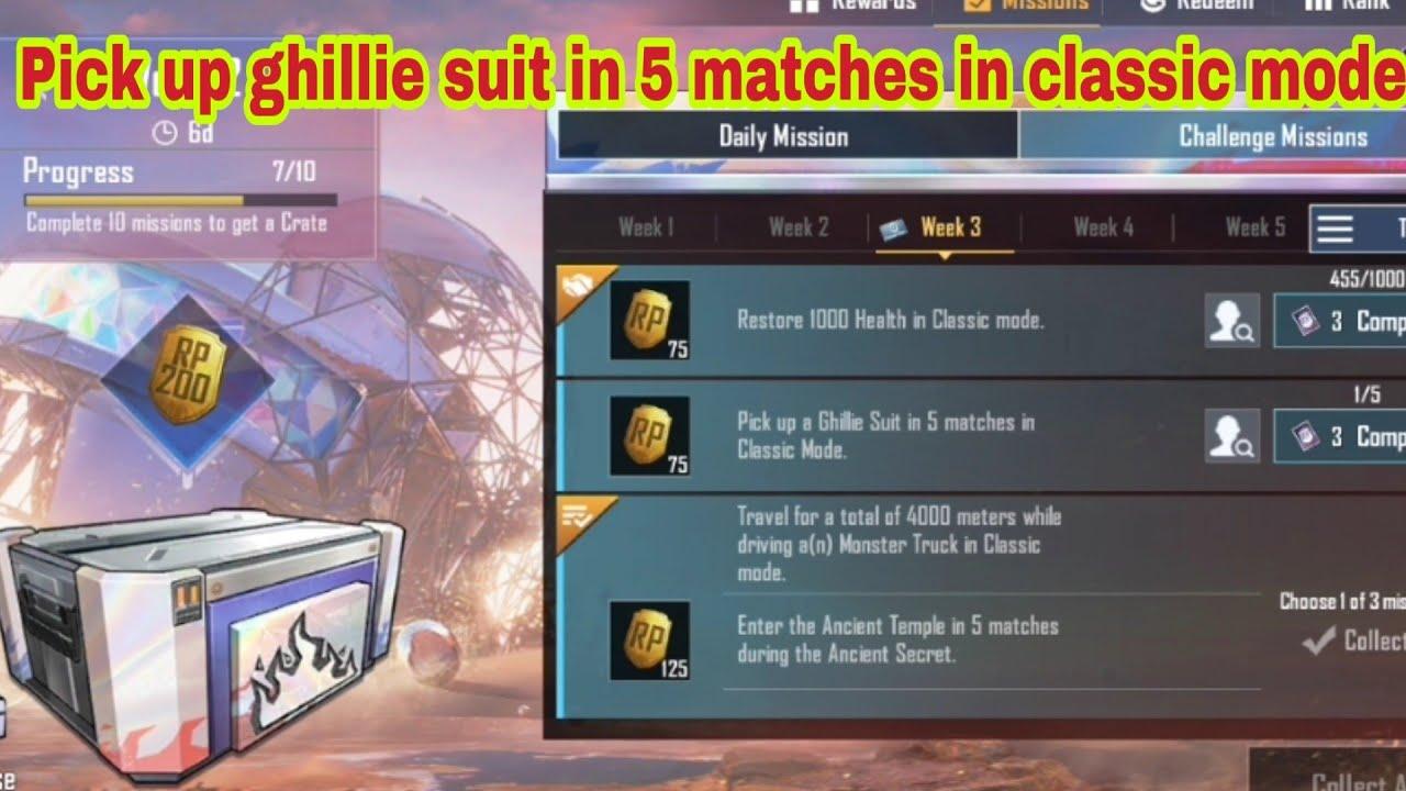 Procurez-vous un costume Ghillie en 5 matchs en mode classique | Mission Pubg Mobile