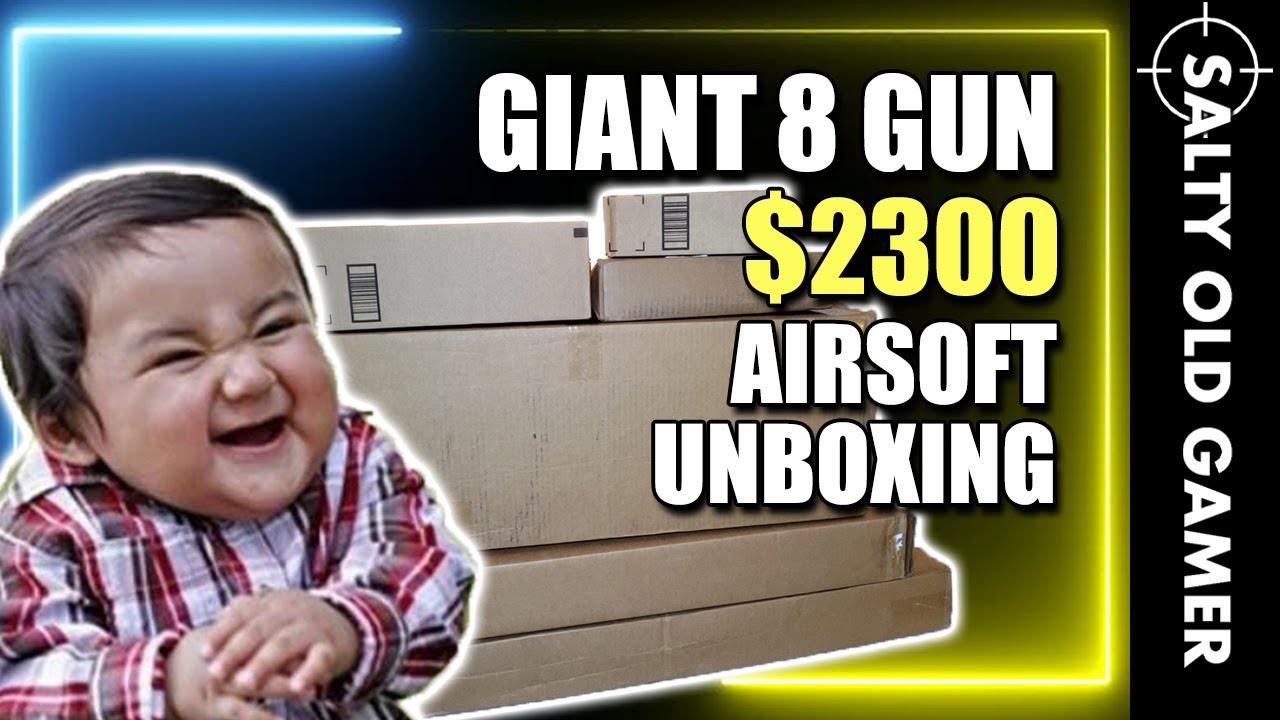 GUN 8 GUN 2300 $ Unboxing Airsoft !! 😱   SaltyOldGamer Airsoft spécial