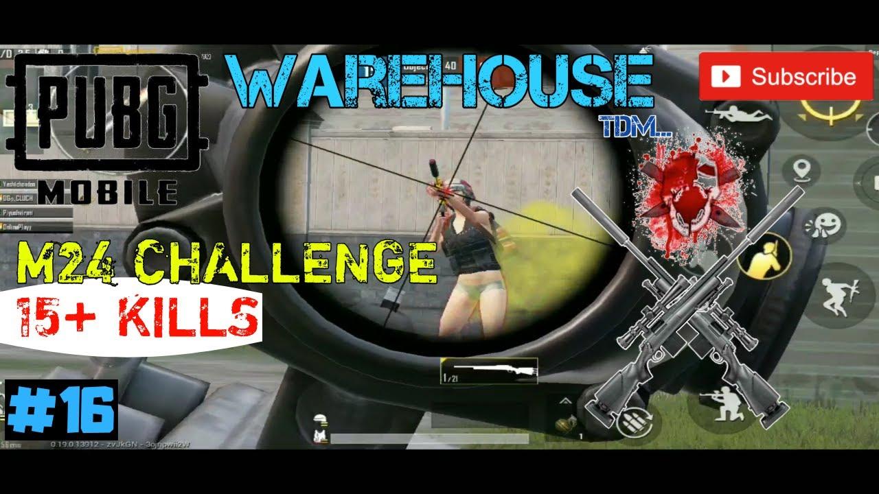 Défi M24 dans l'entrepôt TDM, premier gameplay M24, Pubg Mobile. #clutchgaming, # 16