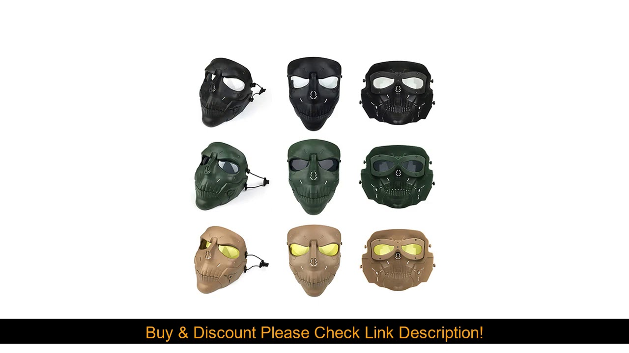 Revue Airsoft Paintball Masque Chasse En Plein Air Tir BB Gun Résistant Aux Chocs Objectif PC Crâne Masque Mi