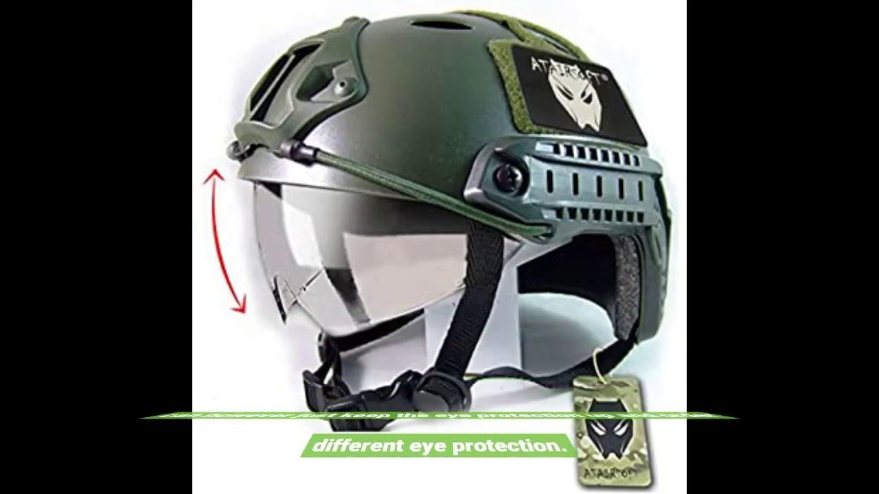 Critique: ATAIRSOFT Casque respirant tactique Airsoft Fast PJ avec lunettes coulissantes OD vert