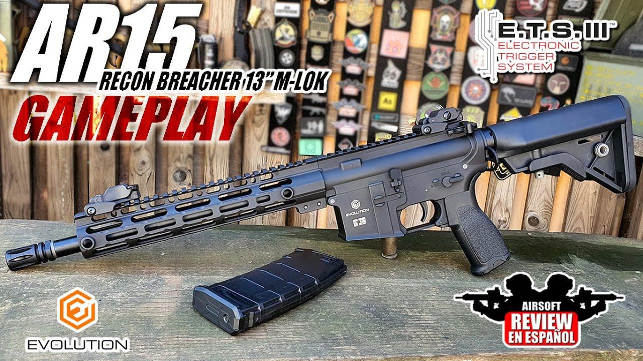 """Nouveau M4 Evolution – AR15 RECON BREACHER 13 """"M-LOK (Critique & Gameplay)   Revue Airsoft en espagnol"""