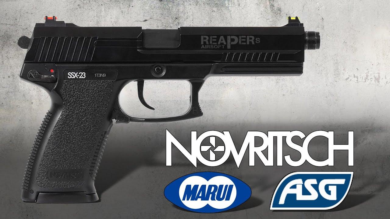 [Review] Novritsch SSX23 contre Marui MK23 c. ASG / Y & P MK23 NBB (6 mm Airsoft / Softair) (allemand, DE)