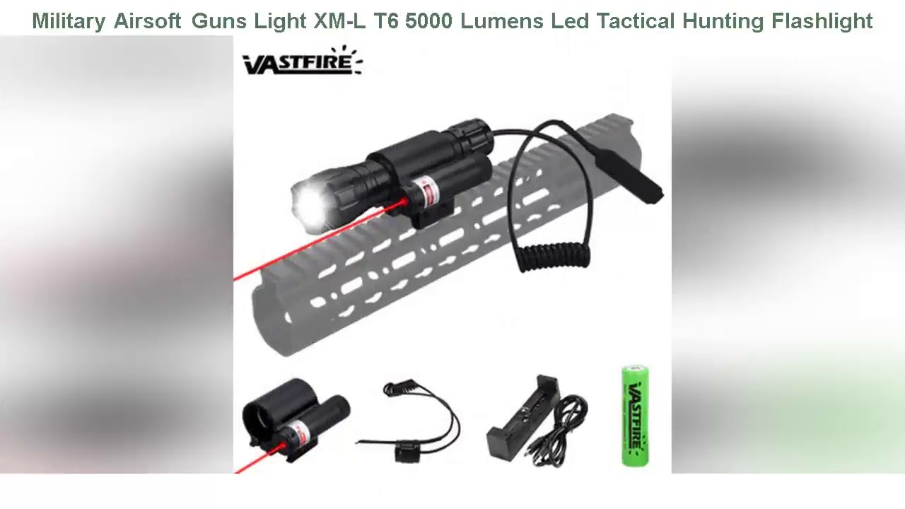 ☘️Review Militaire Airsoft Guns Light XM-L T6 5000 Lumens Led Tactical Chasse Lampe De Poche Fusil Scou