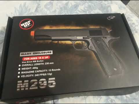Revue de Pistola de Airsoft Spring Full Metal 1911 M295