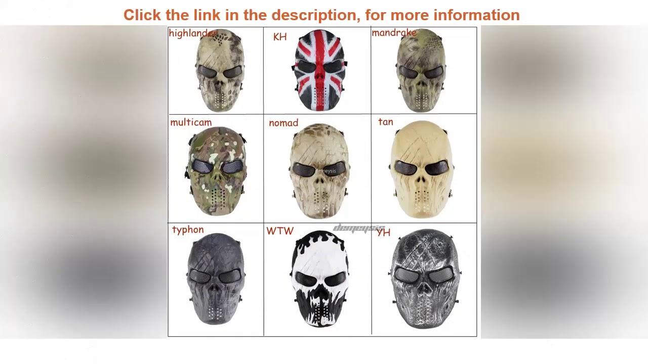 Revue de masque de combat tactique Airsoft Paintball Skull Masques complets militaires pour sports de plein air CS