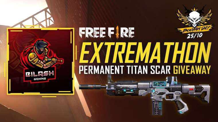 Free Fire Extremathon Titan Scar Giveaway Live – Booyah Day Special 25/10