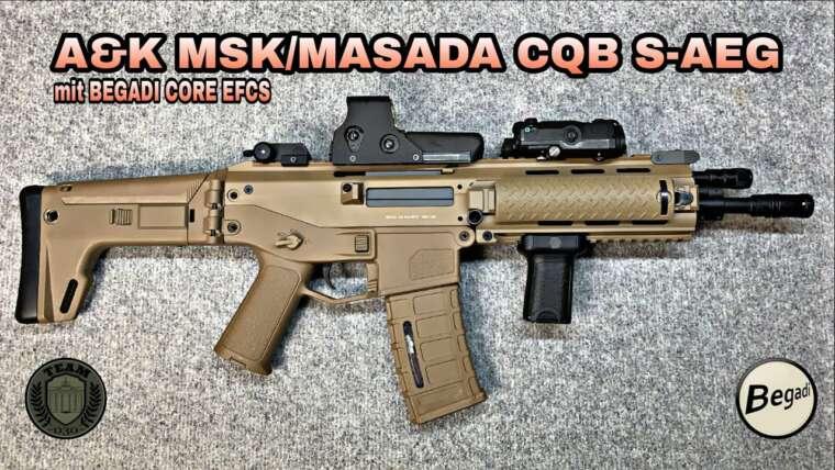 A&K MSK Masada / ACR Airsoft CQB Tan S-AEG avec BEGADI CORE EFCS, 6 mm Airsoft par TEAM-030-AIRSOFT