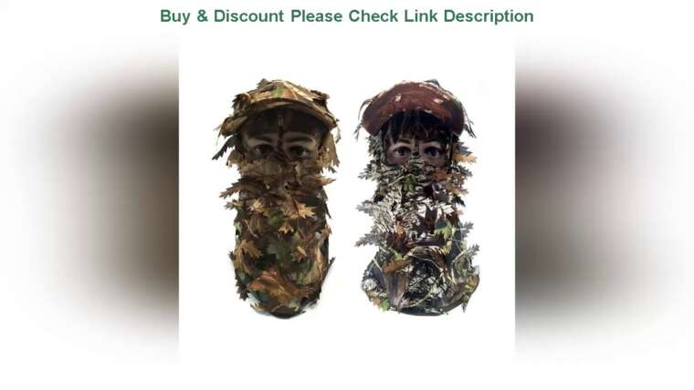 ✋Review Airsoft Camouflage 3D Feuille Masque Stéréo Camping En Plein Air Chasse Bionic Respirant Casque B