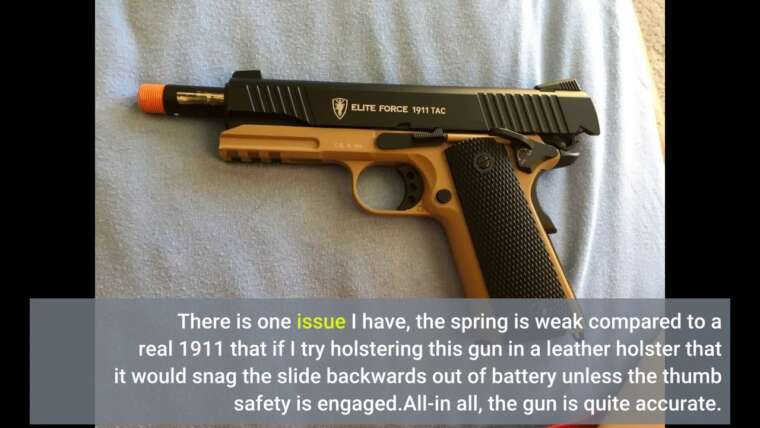 Critique consommateur: Elite Force 1911 Blowback 6mm BB Pistol Airsoft Gun, 1911 TAC, FDE / Black