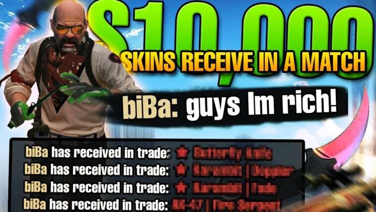 LES OPPOSANTS NE PEUVENT PAS LE CROIRE!  10 000 $ SKINS bruissent dans le match 😂 |  biBa FACEIT moments drôles!