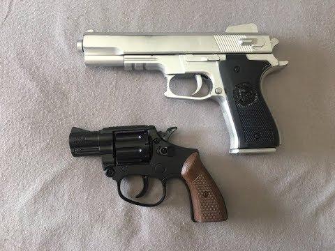 Unboxing et examen du revolver Rambo Lawman.357 magnum et comparaison avec le pistolet airsoft Colt M1911