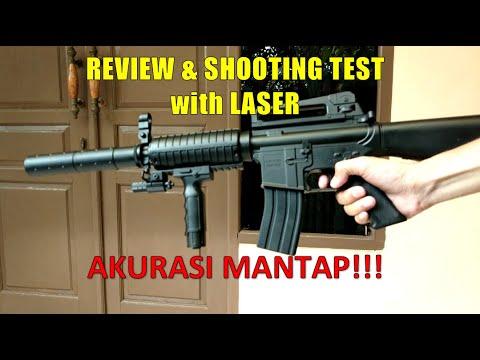Test du pistolet à ressort Akurasi Airsoft M16 avec viseur laser |  Examen et test de prise de vue HD