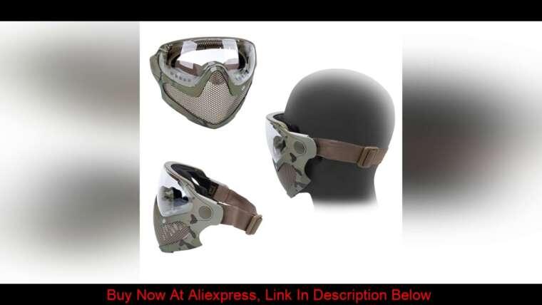 Donner votre avis sur Airsoft Masque de protection Masque anti-buée Masque de casque intégral avec noir / jaune / lentille Tactica