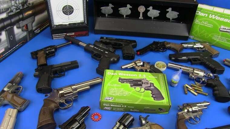 Revolvers Airsoft Noir & Argent!  Boîte de jouets d'armes à feu