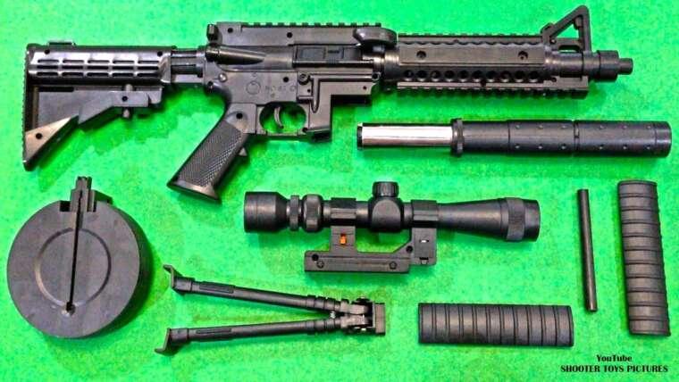 Fusil de pistolet jouet réaliste |  Carabine BB Airsoft à balle en plastique jaune |  Énorme boîte de jouets!
